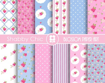 Shabby Chic Papers, Digital Floral, Pink Cottage Scrapbook Paper Pack, Scrapbooking, Cardmaking - Collage Sheet - 1737