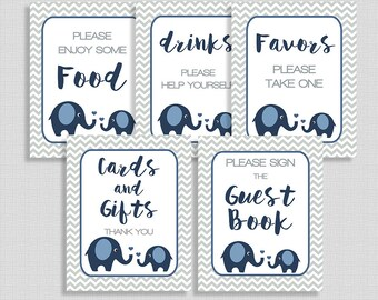 Navy Elephant Baby Shower Signs, Navy & Grey Chevron Shower Signs Package, 5 Sign Bundle, INSTANT PRINTABLE