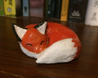 Sleeping Fox Figurine