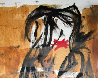 """Abstract Minimal Outsider Art No.0761 Ink on Paper 24x18"""" Original Mature"""