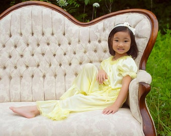 Princess Jammies - Yellow w/Yellow Lace - Newborn to Adult Sized Tricot Pajamas - Pick A Color!
