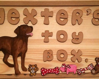 labrador dog toy box, cusomised wooden toy box, dog toy storage, pet toys, dog toys