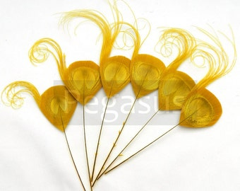 GOLDEN Yellow Peacock Feather Picks (3 package size) wedding invitations, boutonnieres, bouquets, hats,millinery fascinator,steampunk