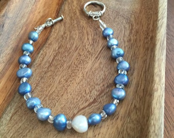 Blue and White Freshwater Pearl Bracelet