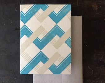Chevron Letterpress Notecard - Blue & Tan