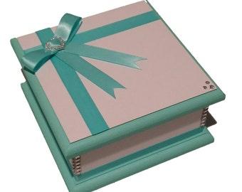 Turquoise & White Keepsake Box, Trinket Box, Treasure Box, Jewellery Box, Memory Box, Wooden Box, Wedding Box, Personalised Box