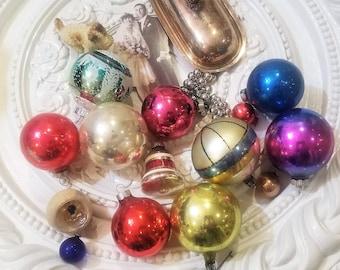 14 Vintage Mercury Glass Christmas Ornament Lot Stencil Indent Shiny Brite Bell!