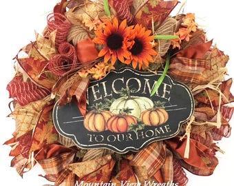 Fall Wreath, Autumn Wreath,Fall Mesh Wreath,Pumpkin Sign Wreath, Fall Colors Wreath, Fall Decor, Fall Pumpkin Decor,Autumn Decor, Door Decor