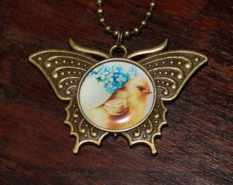 Baby Chick Necklace, Bird Jewelry, Animal Lover, Bronze Butterfly Pendant, Easter Eggs