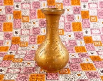 Small vintage brass vase - etched pattern