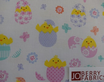 Spring Chicks from the Love Bunny Collection by Greta Lynn for Kanvas with Benartex, Fabric by the Yard, JoBerry Fabrics.
