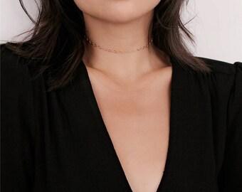Delicate Gold Layering Neck Choker - Gold Chain Choker - Gold Collar Choker Necklace