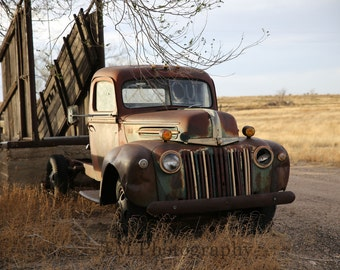 Old Truck - Rusty Old Truck - Old Ford - Old Ford Truck - Old Pick Up - Ford in Keep Out - Fine Art Photography