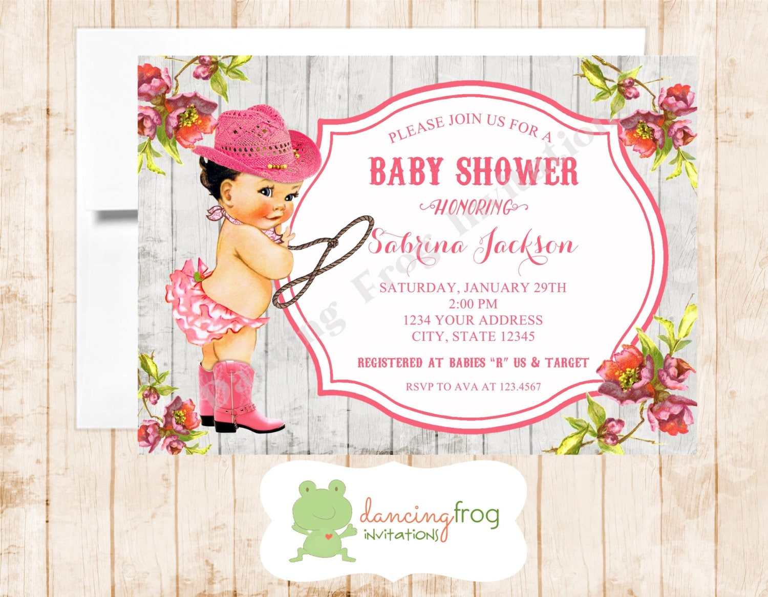Vintage antique cowgirl baby shower invitation printed zoom filmwisefo Image collections