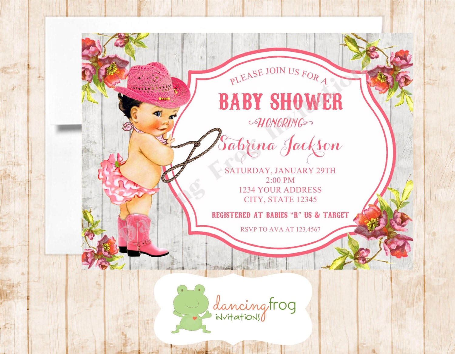 Vintage Antique Cowgirl Baby Shower Invitation Printed