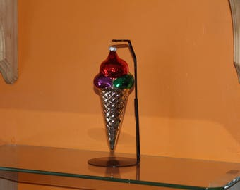 1980 vintage Christmas ornament blown glass and hand painted sold at Kaufman's