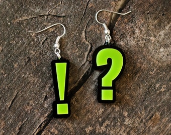 Punctuation Mark Earrings (Question Mark + Exclamation Mark) // Gift for English Teacher // Booklover