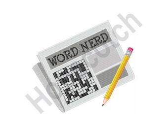 Word Nerd - Machine Embroidery Design, Crossword Puzzle, Newspaper, Pencil