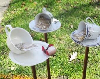 Tea Cup Bird Feeder, Bird Bath, Upcycled, Garden Art, Yard Art, Garden Decoration, Hanging bird feeder, pole bird feeder, with starter seed