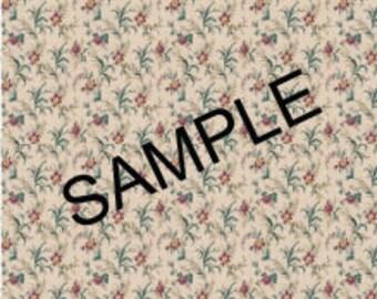Quarter Scale, Half Scale and 1:144 Scale, Beige Floral Miniature Dollhouse Wallpaper (1B)