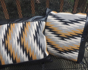 Pillow 2 Navajo Rug and leather Pillows  16 x 16 inches matching pair Cowboy Decor Western Southwest N-B