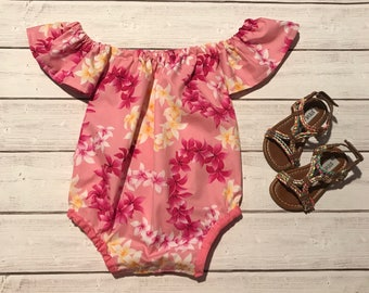 Girls off shoulder romper - bodysuit - birthday outfit - photoshoot outfit - beach romper - summer romper play outfit - off shoulder top