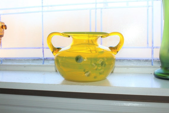 Large Murano Vaseline Glass Vase with Handles Vintage Art Glass