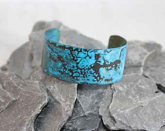 Lovely Copper Cuff Bracelet with Blue Patina (121217-006)