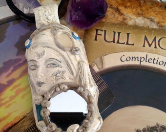 REFLECTION, Moon Goddess, Muse, Mother Moon, Mirrored, Moonstone, crystal, Blue Apatite, pendant, Necklace, Amulet, Talisman, Charm, Lady