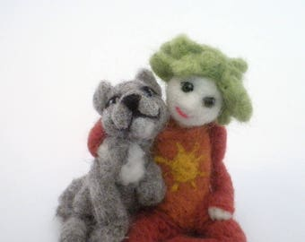 Child And Pet/Needle Felted Pet And Child/NeedleFelted Leon/Soft Sculpture/Gift/Wool/Decorative Item/OOAK/Natural Fiber/Collectible