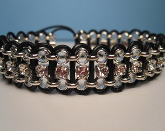 Leather Chain Bracelet, Black Leather Rhinestone Bracelet, Leather Bracelet, Woven Leather Bracelet, Black Leather, Leather Silver Chain