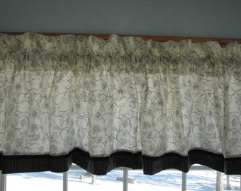 """Black Floral Toile Cream Valance 17"""" x 81""""  Can Alter Curtain Window Treatment"""