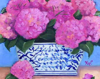 Original still life painting: Pink Hydrangeas in Blue and White Vase, chinoiserie, colorful, hydrangea painting,  fine art canvas