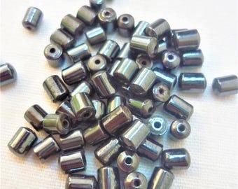 Set of 10 black 4mm hematite tube beads