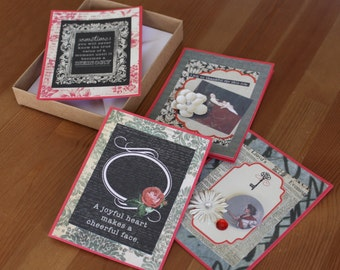 4 Note Cards in a Gift Box, Neutral and Red, Inspirational