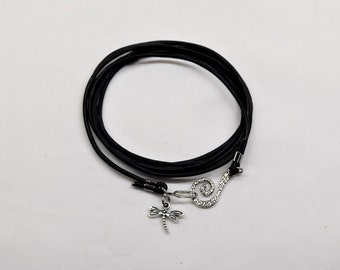 Leather wrap bracelet, Dragonfly