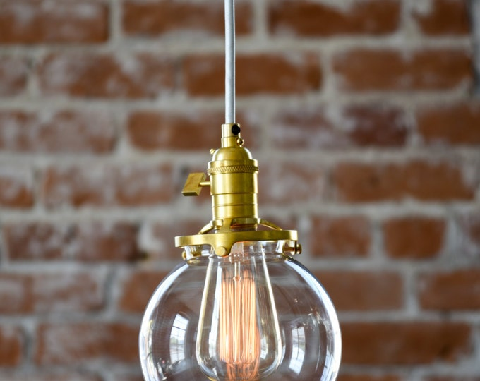 Pendant Lighting Gold Brass - 6in. Clear Glass Globe - Cloth Wire - Plug In or Ceiling Canopy Mount - Edison Bulb Compatible