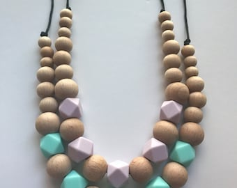 Chic New Colors Silicone Wood & Hexagon Necklace