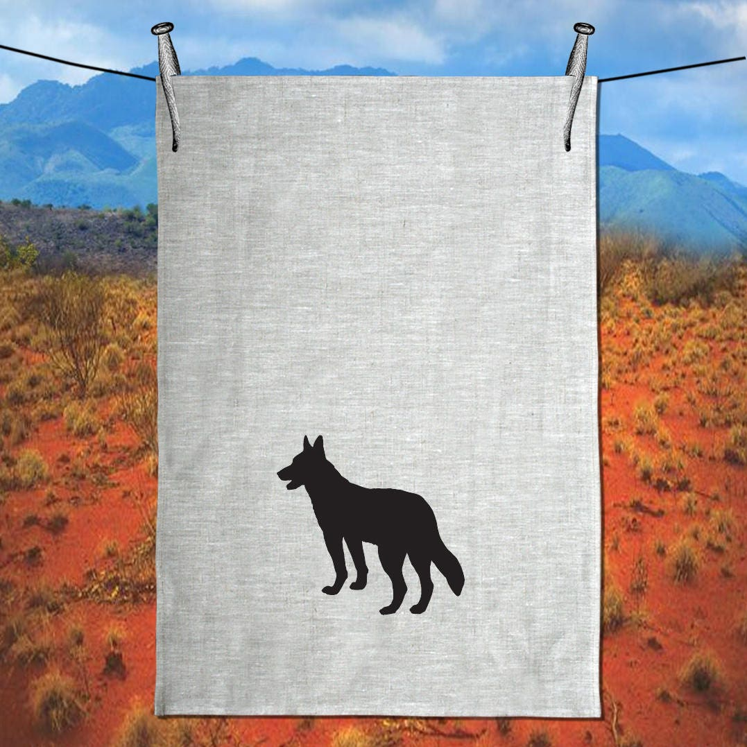 australian kelpie dog silhouette tea towel free shipping. Black Bedroom Furniture Sets. Home Design Ideas