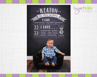Birthday Chalkboard Template, Birthday Overlay, First Birthday Poster Template, Birthday Details Overlay, PHOTOGRAPHY PROP