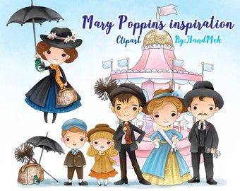 Cute mary poppins mary poppins clipart, Instant Download,PNG file - 300 dpi