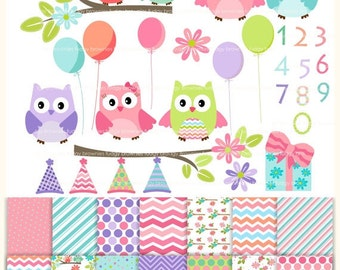ON SALE Owls clip art,Owls papers,Birthday clip art,Digital Papers,clip art,combo MS 10, invites,cards,scrapbook,chevron,polka dots,Instant