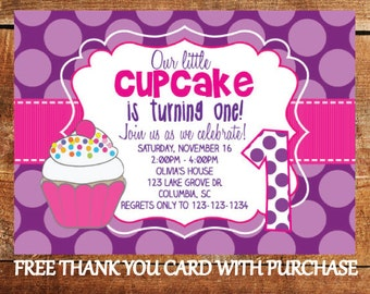 Cupcake invitation 1st birthday girl invitation 1st birthday first birthday cupcake invitation 1st birthday girl party invite with free thank you card filmwisefo Gallery