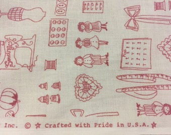 Joan Kessler 100% Pink and White Cotton Fabric with Sewing Notions Theme