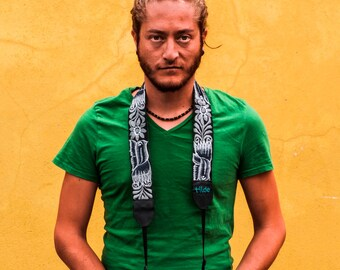 Leather camera strap with traditional Guatemalan embroidery, Gift photographer, DSLR strap, Canon Nikon camera strap-grey black white PLC2