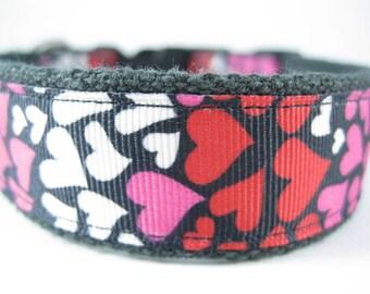 Hemp dog collar - I Love You Hearts