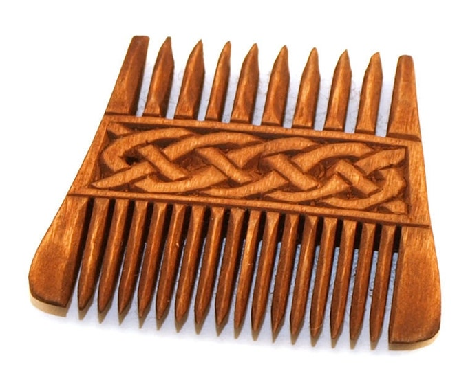 Viking Wooden Double Comb with Plait
