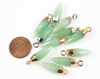 Natural Green Adventrine Spike Pendant Charm with 24k gold electroplated cap or Rhodium Plated Cap