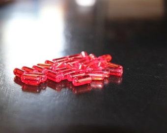 32 red transparent glass tube beads, 10 x 4 mm, tube glass beads