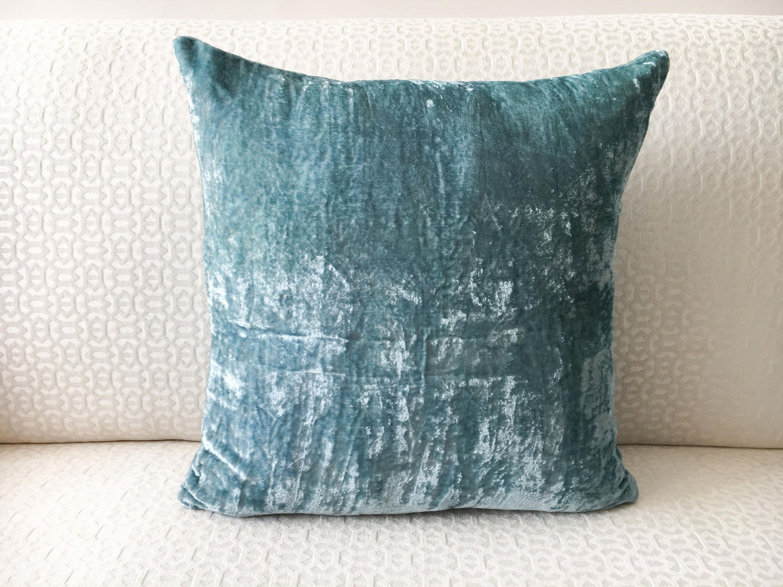 Teal Blue Velvet Euro sham 20x20 Pillow cover 20x20 20x20